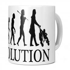 MUM WITH PUSHCHAIR EVOLUTION 11OZ NOVELTY MUG