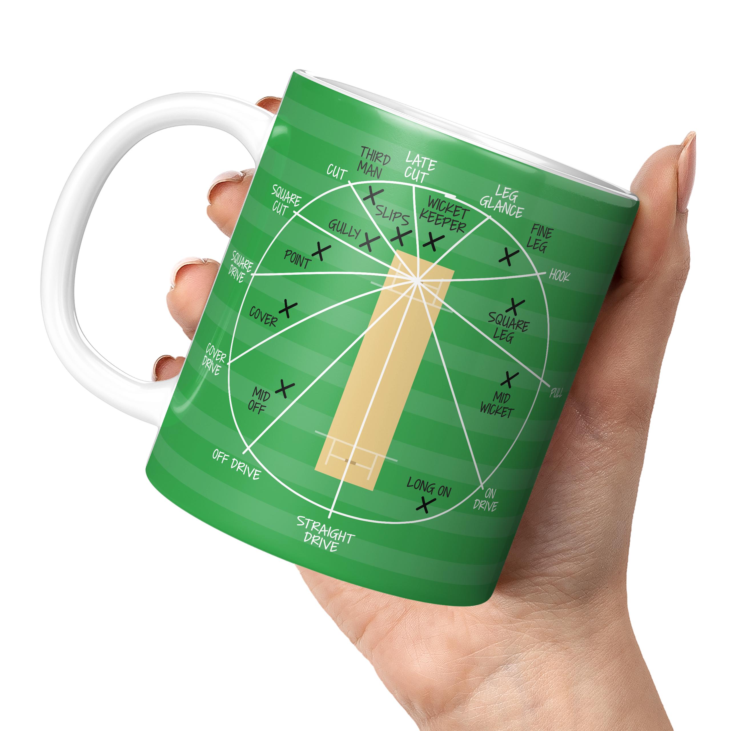 CRICKET FIELDING POSITIONS 11oz NOVELTY MUG Mugs