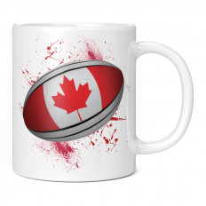 CANADA RUGBY BALL SPLATTER 11OZ NOVELTY MUG