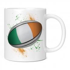 IRELAND RUGBY BALL SPLATTER 11OZ NOVELTY MUG