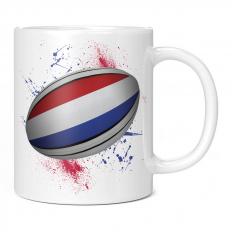 NETHERLANDS RUGBY BALL SPLATTER 11OZ NOVELTY MUG