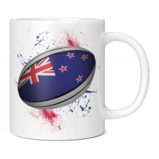 NEW ZEALAND RUGBY BALL SPLATTER 11OZ NOVELTY MUG