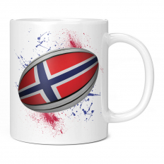 NORWAY  RUGBY BALL SPLATTER 11OZ NOVELTY MUG