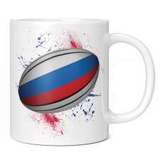 RUSSIA RUGBY BALL SPLATTER 11OZ NOVELTY MUG