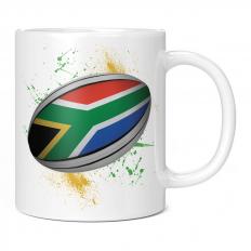 SOUTH AFRICA RUGBY BALL SPLATTER 11OZ NOVELTY MUG