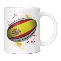 SPAIN RUGBY BALL SPLATTER 11OZ NOVELTY MUG