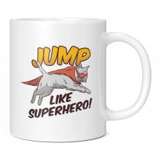 JUMP LIKE SUPER HERO CAT 11OZ NOVELTY MUG