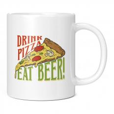 DRINK PIZZA EAT BEER 11OZ NOVELTY MUG