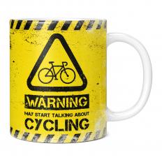 WARNING MAY START TALKING ABOUT CYCLING 11OZ NOVELTY MUG