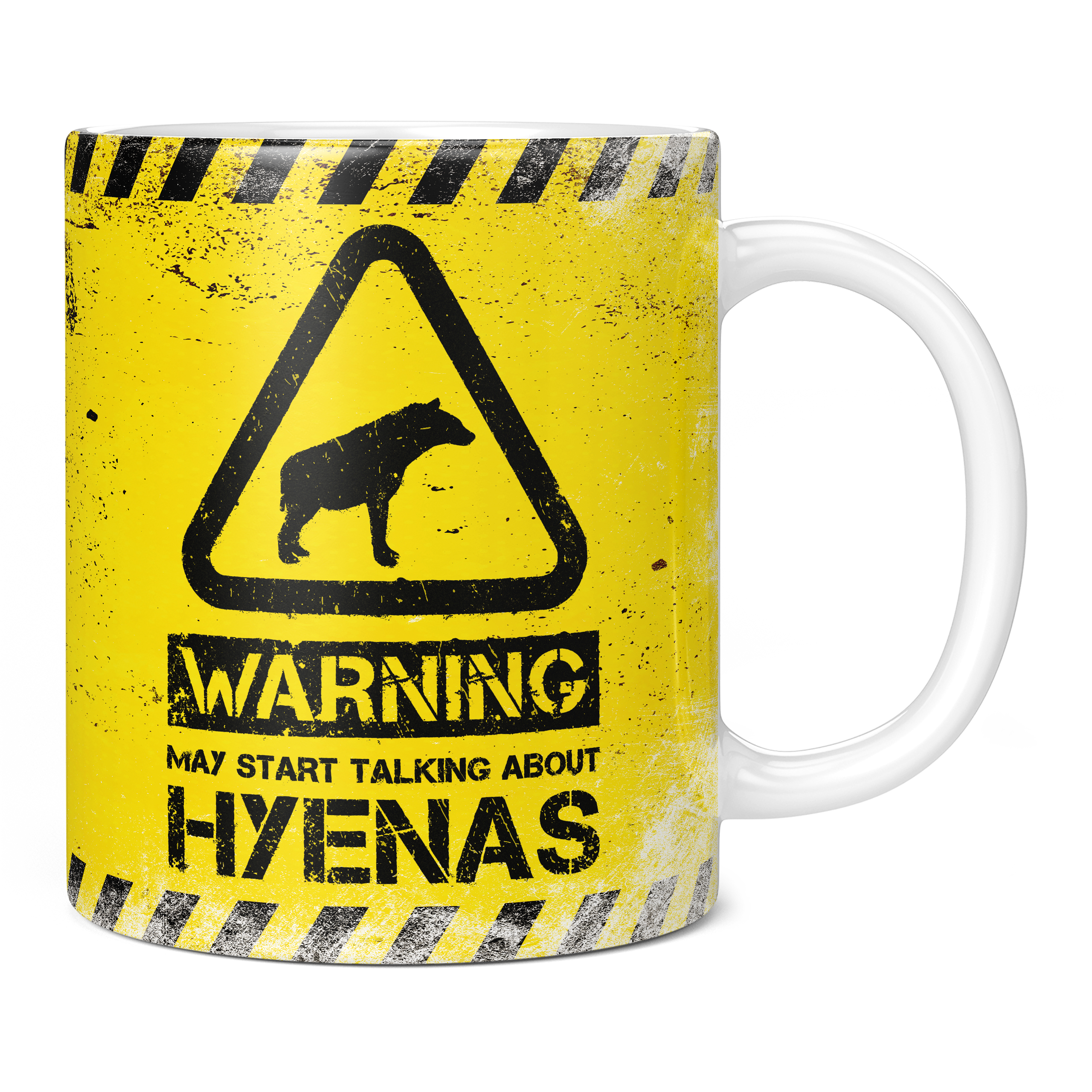 WARNING MAY START TALKING ABOUT HYENAS 11OZ NOVELTY MUG