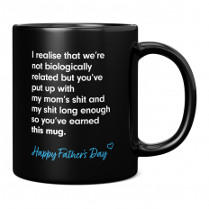 HAPPY FATHERS DAY STEPDAD BLACK 11OZ NOVELTY MUG